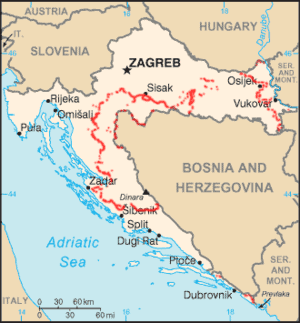 Areas in Croatia with undetected mines