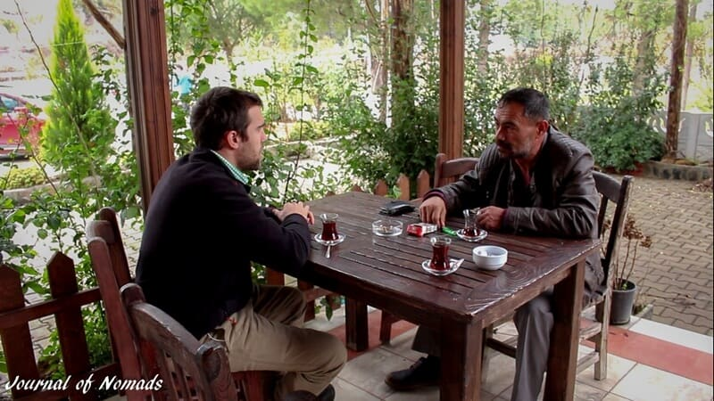 Enjoying tea with Mustafa