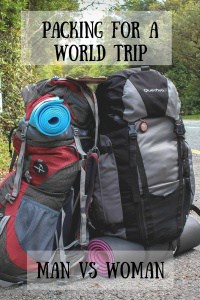 Packing for a world trip - Man vs Woman