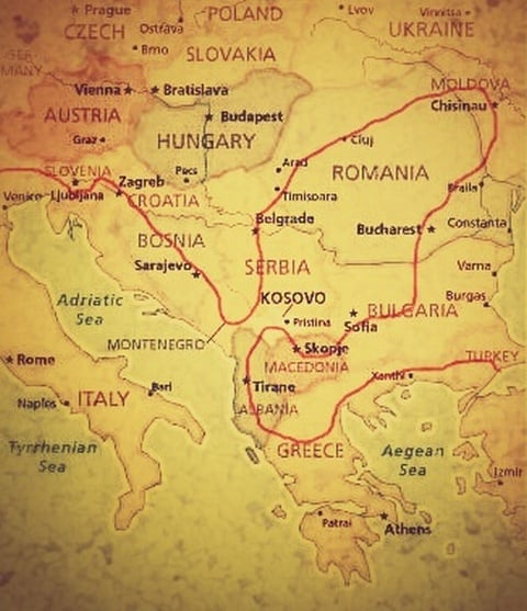My Balkans route, roughly planned on a map