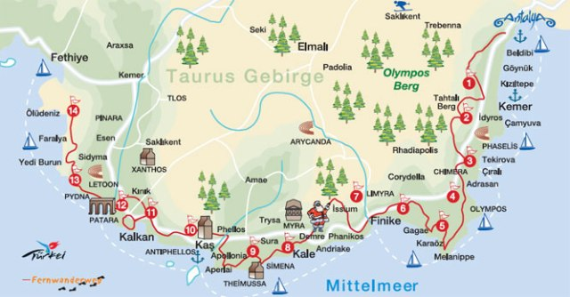 Hitchhiking Turkey - map Lycian Way- Journal of Nomads