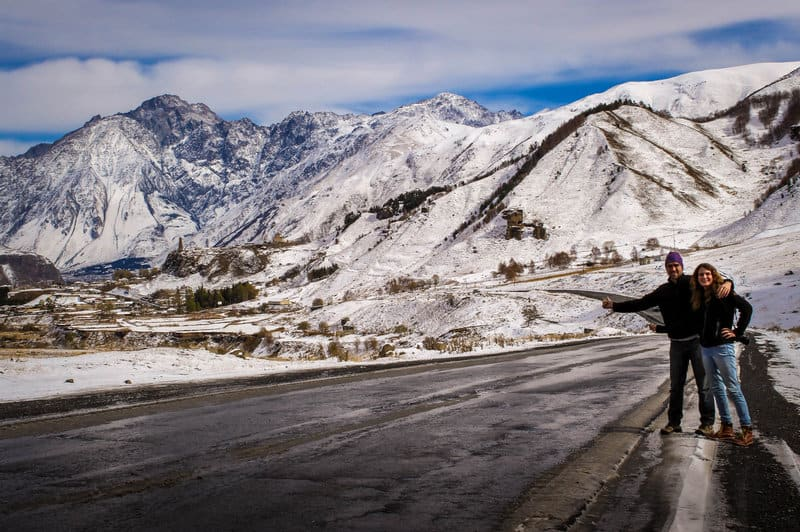A complete guide to hitchhiking and staying safe on the road (10 years of experience) - Hitchhiking in winter in Georgia