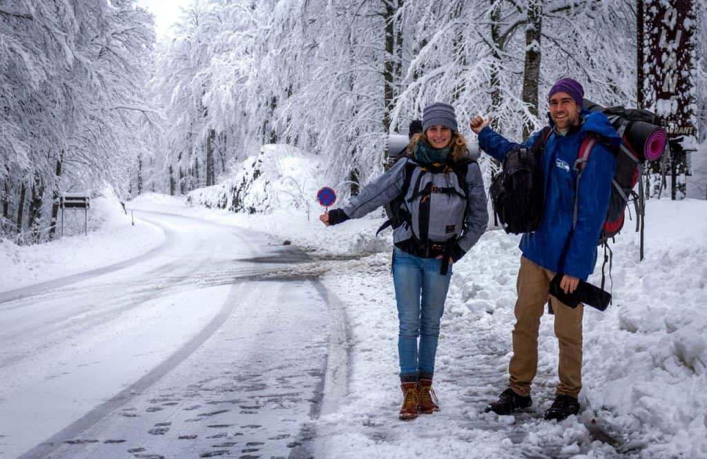 Hitchhiking in the snow in Croatia - Journal of Nomads