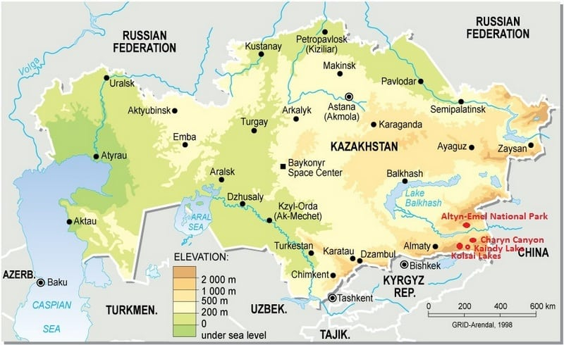 Map Kazakhstan - Kaindy Lake - Kolsai Lake - Journal of Nomads