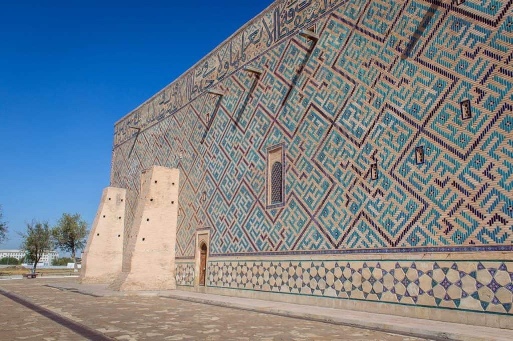 Turkestan Kazakhstan Khoza Ahmed Yasawi Mausoleum tiled mosaics wall