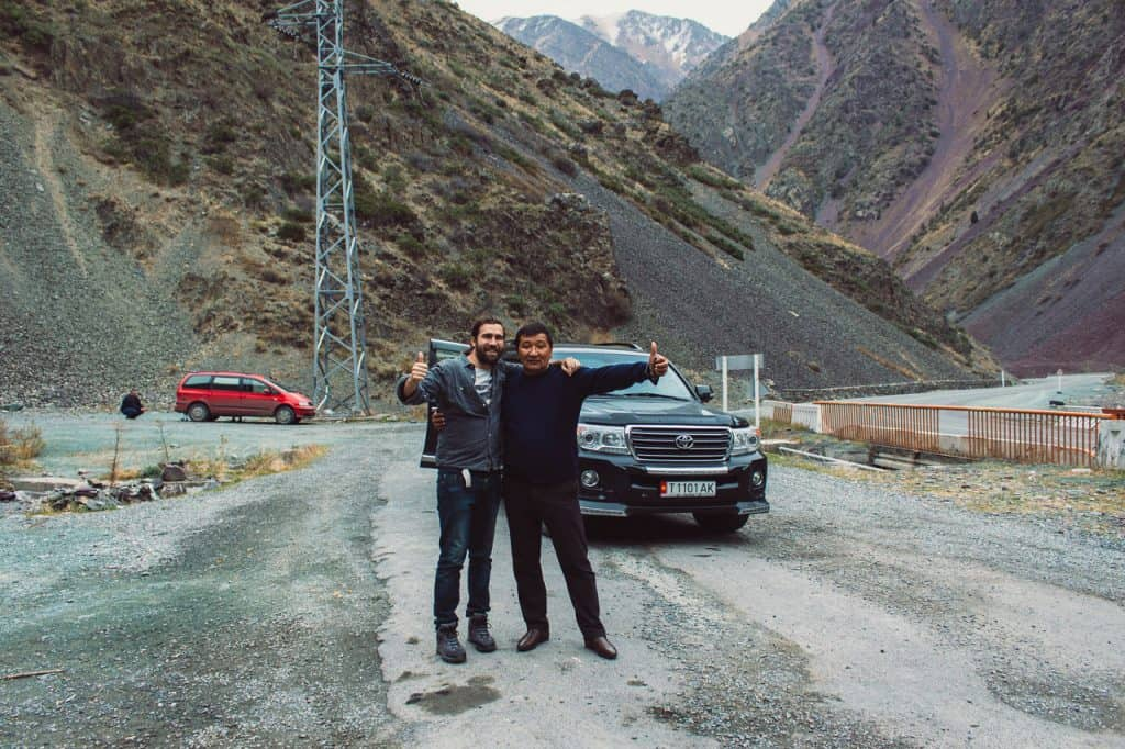Niko with one of our drivers - - Hitchhiking in Kyrgyzstan - Journal of Nomads