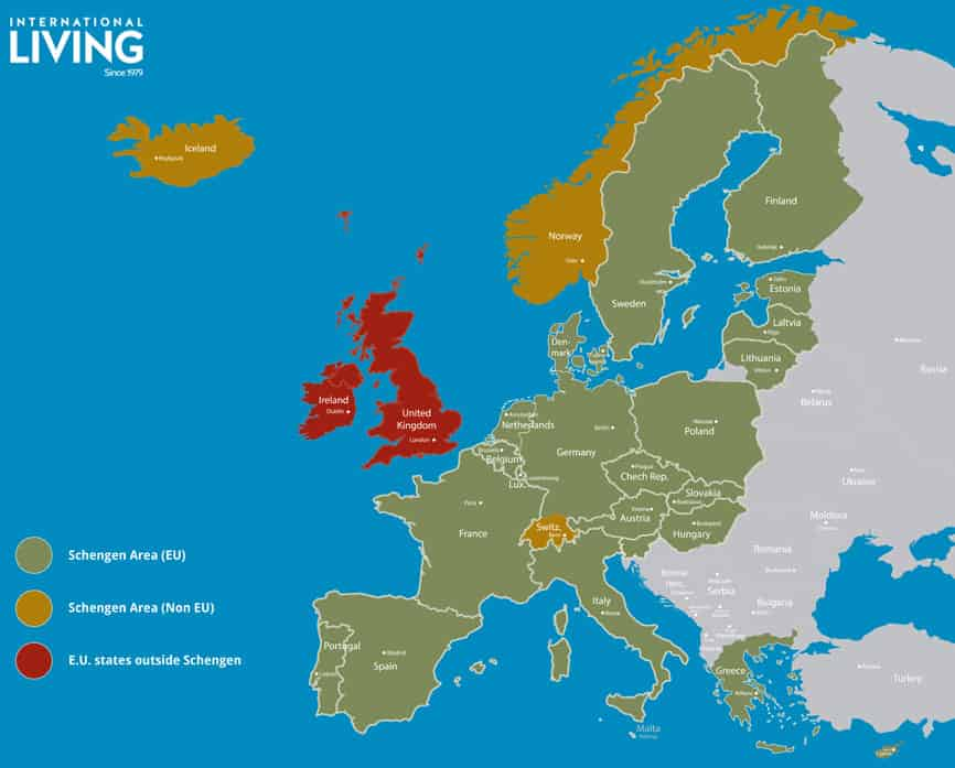 Map of Europe with Schengen countries - Journal of Nomads