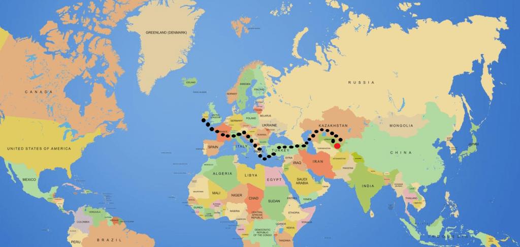 world map until Uzbekistan Journal of Nomads