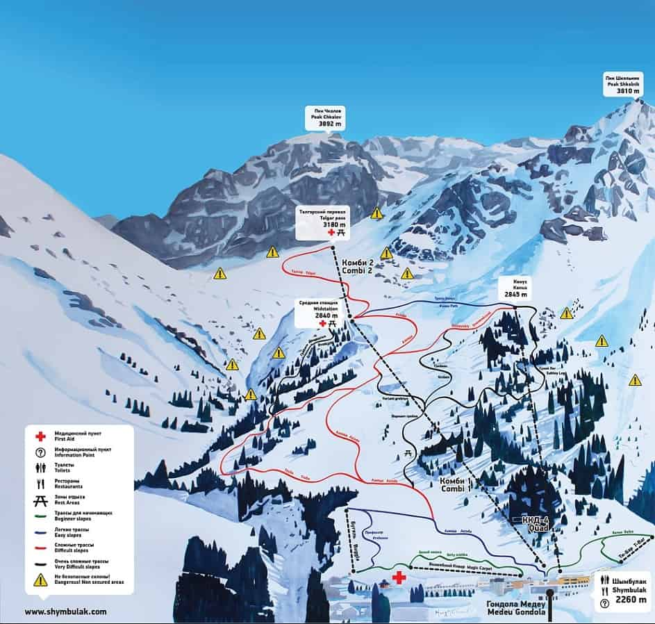 Skiing Guide to Shymbulak, Almaty - Kazakhstan - Journal of Nomads - level of the slopes at Shymbulak