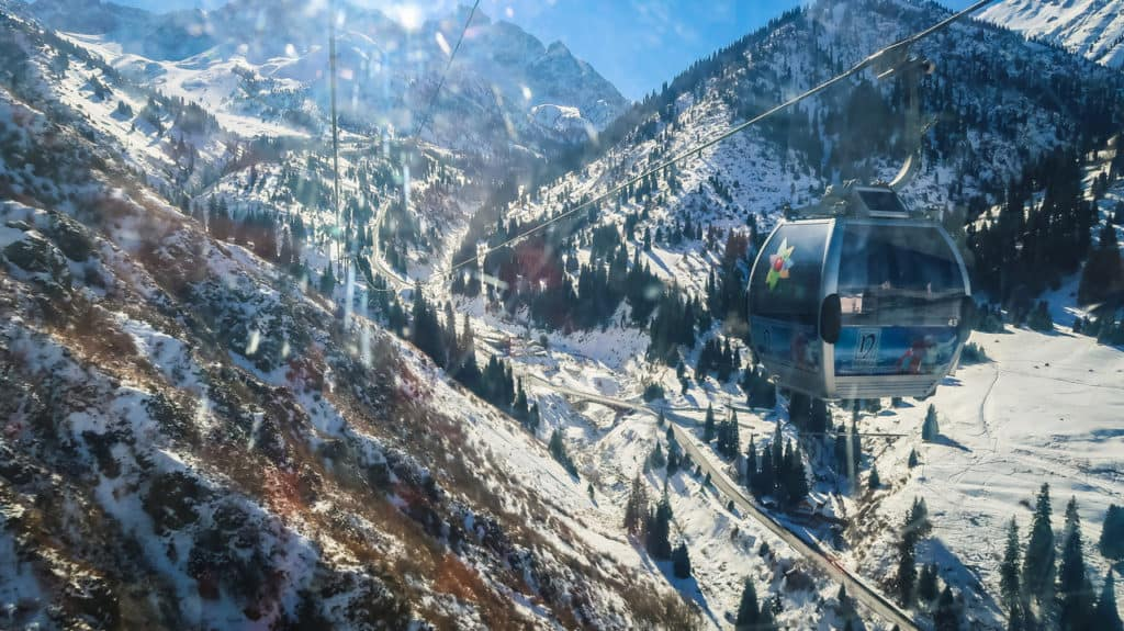 A Beginner's Guide to Skiing in Shymbulak, Almaty - Kazakhstan - Journal of Nomads - cable car to Shymbulak