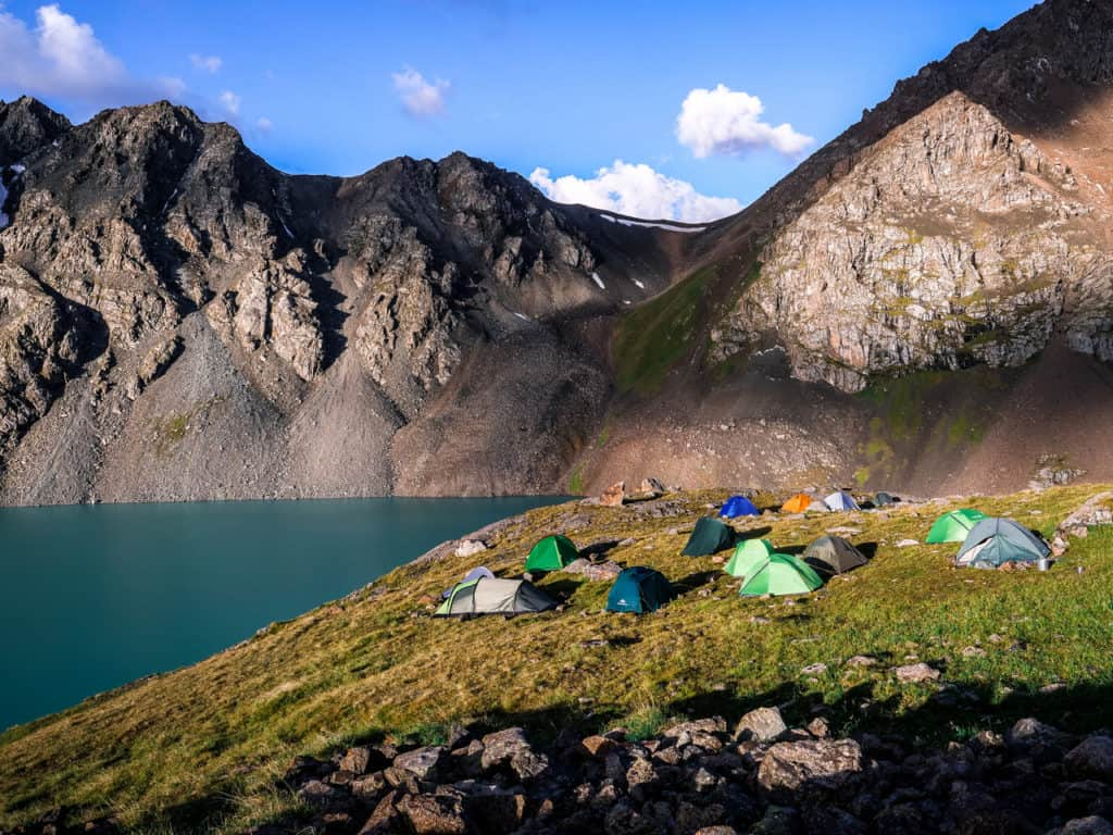 Adventure Trekking in Kyrgyzstan July 2019 - camping at Ala Kul Lake