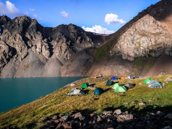 Adventure Trekking in Kyrgyzstan July 2019 - camping at Ala Kul Lake
