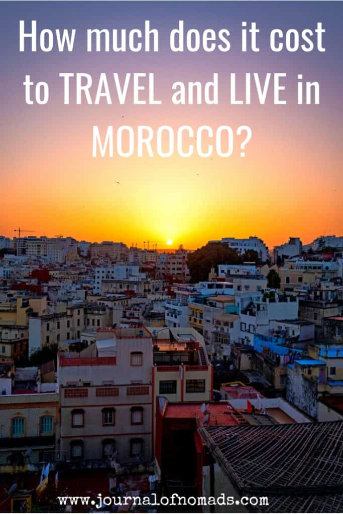 Travel to Morocco on a budget - How much does it cost to live and travel in Morocco - Costs of accommodation in Morocco - Getting around in Morocco - Food in Morocco- sunset in Tangier - Journal of Nomads