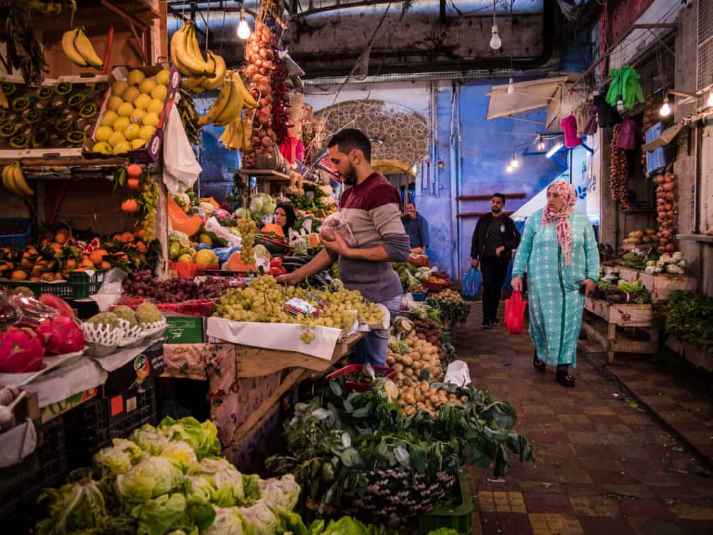 Travel to Morocco on a budget - How much does it cost to live and travel in Morocco -How much does food in Morocco cost - market in Morocco- Journal of Nomads