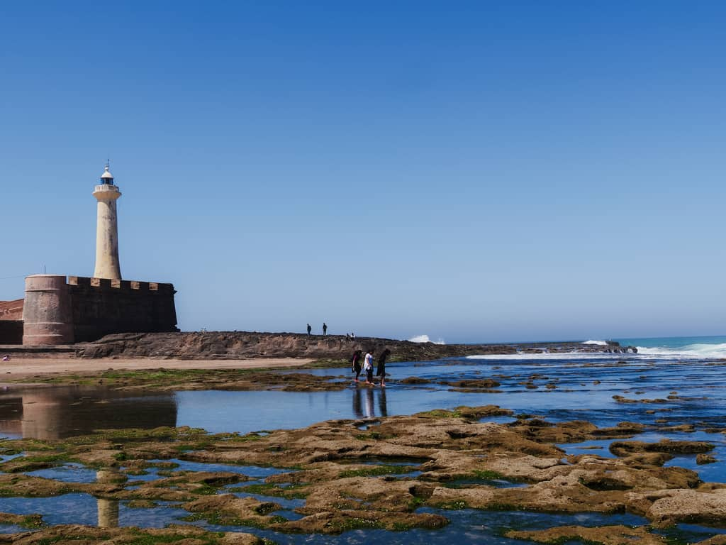 lighthouse Rabat low-tide Morocco - journal of nomads