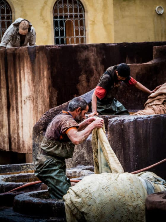 leather tanneries Fez Morocco - workers - tanners - Journal of Nomads