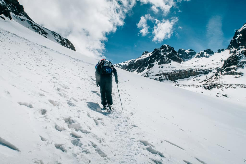 Hiking to toubkal during winter - snow on toubkal - trekking to toubkal during winter morocco - journal of nomads