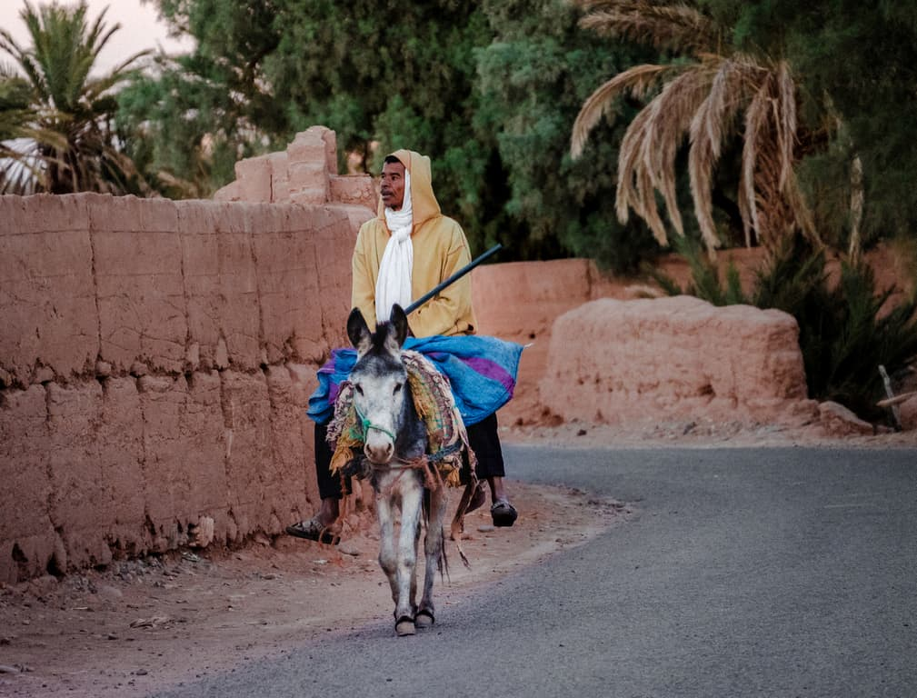Street photography Morocco - man riding donkey in Morocco - Journal of Nomads