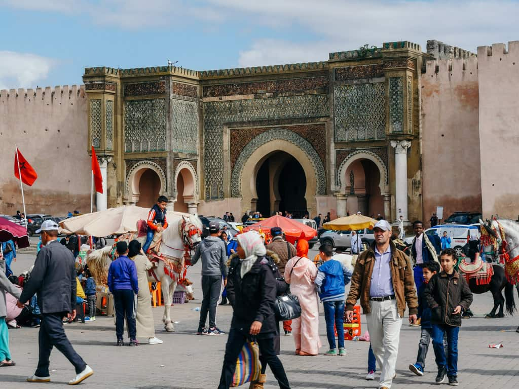 view of Bab Masour from al Hedim square - Meknes Morocco - journal of nomads