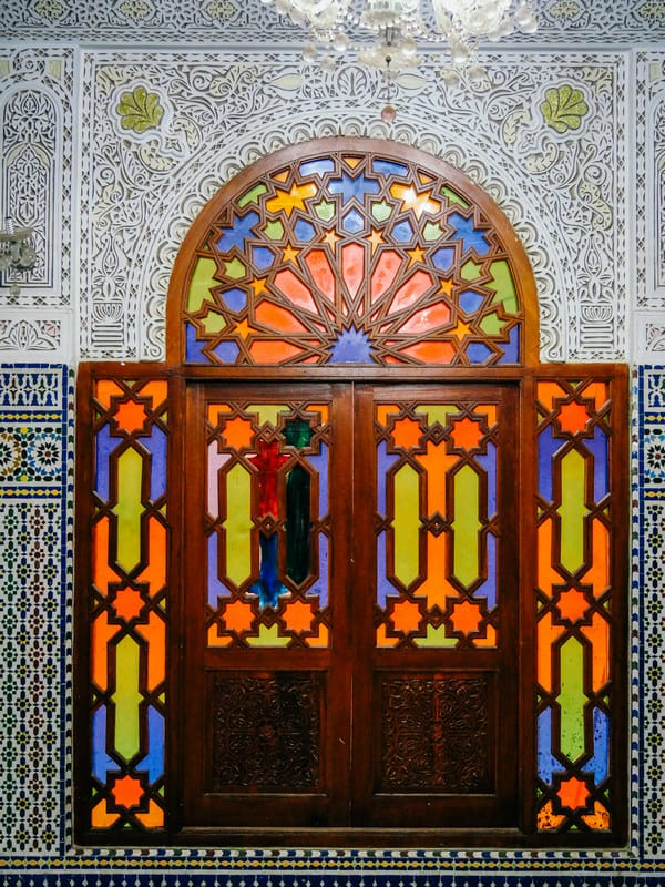 colored glass windows riads meknes morocco - journal of nomads