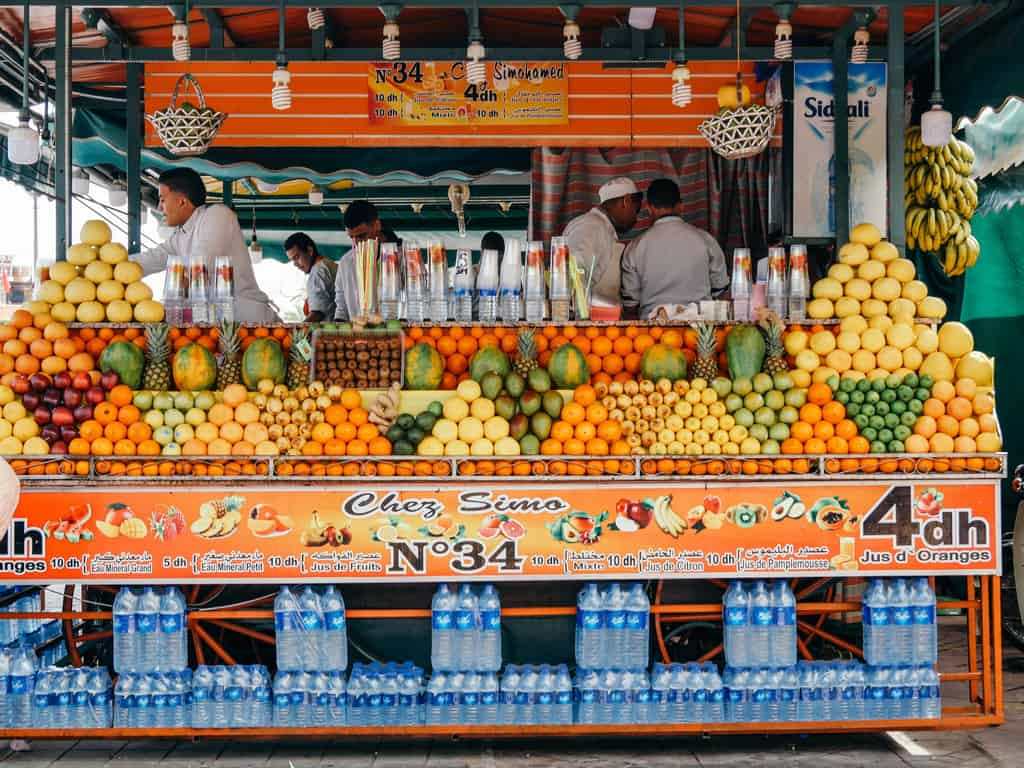 fruit juice stands Marrakesh Morocco - journal of nomads