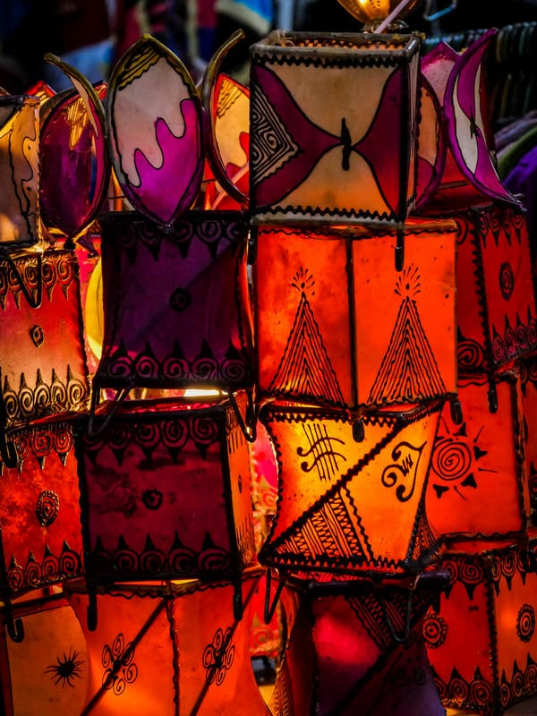 leather lamps - skin lamps - Marrakesh Morocco - journal of nomads