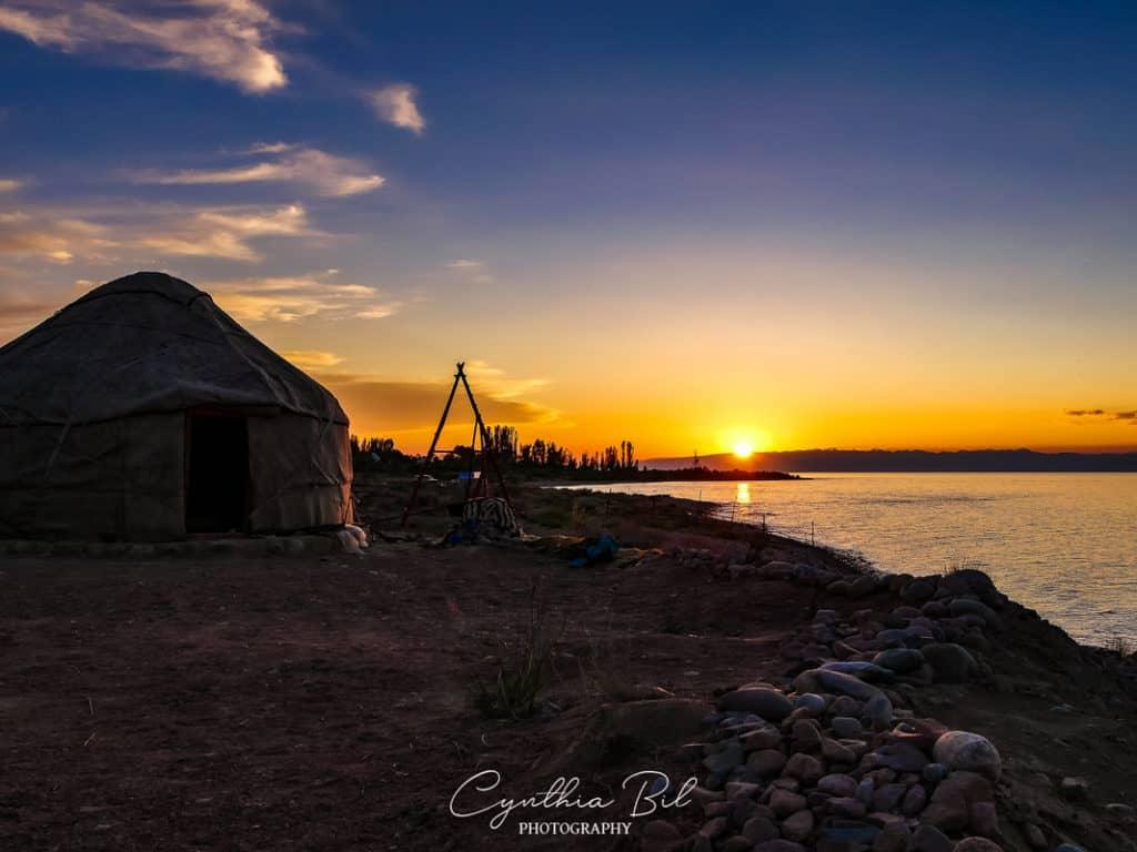 Kyrgyzstan Adventure Tour - sunset at Issyk-Kul lake
