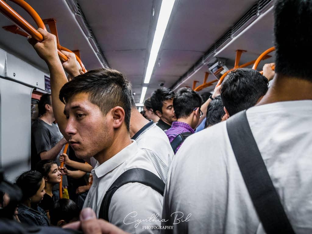 Traveling in a crowded metro train - tashkent - Uzbekistan - Journal of Nomads