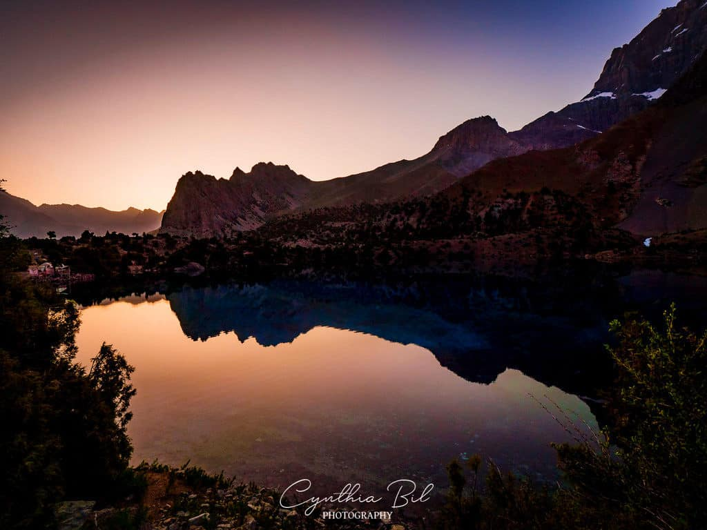 Sunset Alauddin Lakes Fann Mountains Tajikistan