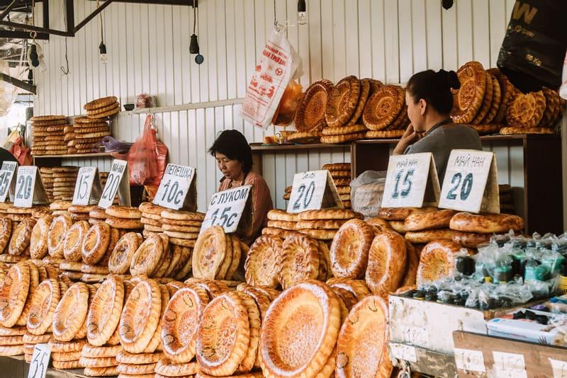 traditional Kyrgyz bread - Osh bazaar - Bishkek