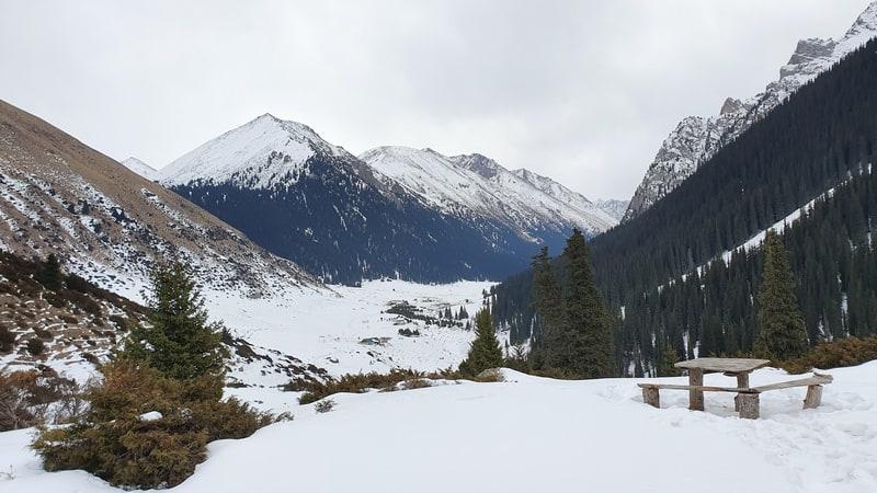 hot springs in Kyrgyzstan in winter