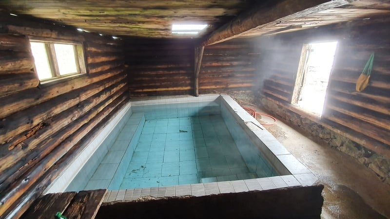 indoor hot springs Altyn Arashan valley - Kyrgyzstan in winter