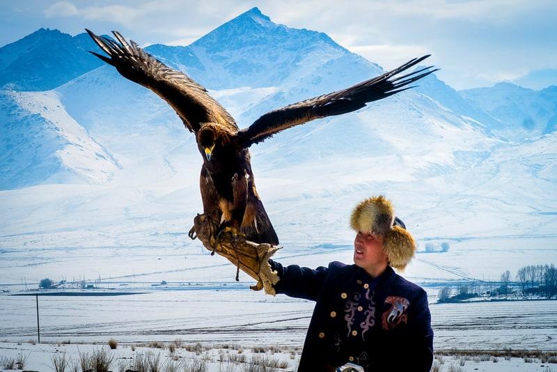 Eagle hunters in Kyrgyzstan in winter