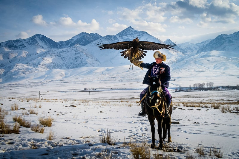 Kyrgyz eagle hunter during winter
