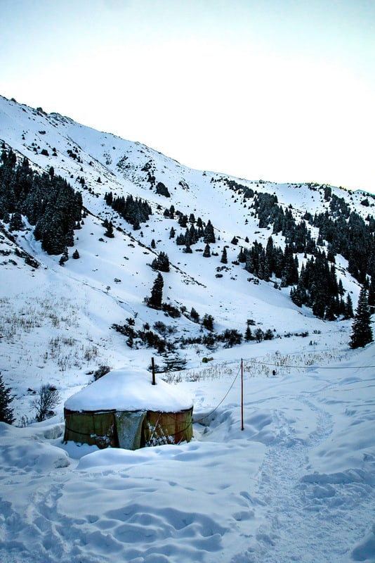 backcountry skiing - yurt camp in Kyrgyzstan in winter